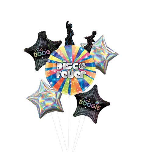 Let's Boogie Disco Dancing Party Supplies Balloon Bouquet Decorations with Silver Iridescent Star]()