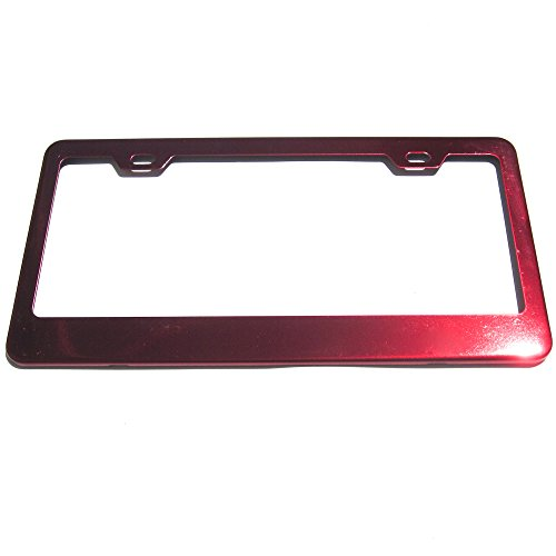 Candy Red Powder Coated 100% Stainless Steel License Plate Frame Holder Tag ()