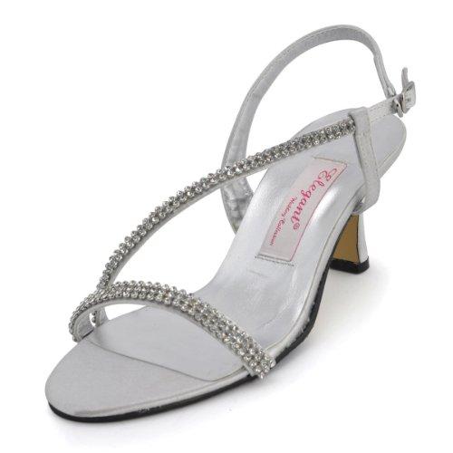 Elegantpark EP11097 Silver Women's Open Toe Rhinestone Low Heel Satin Evening Party Sandals US 8