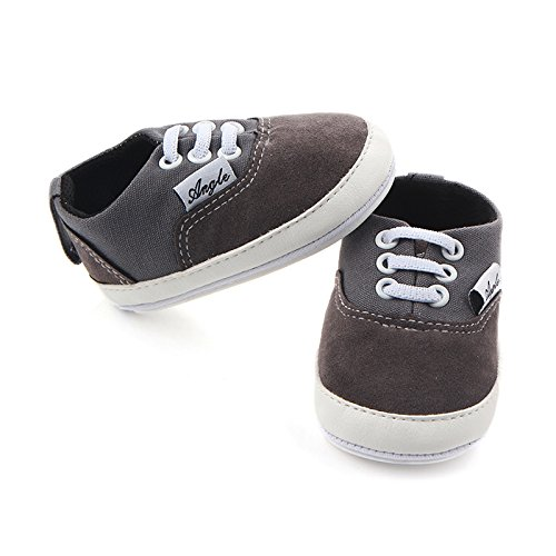 Huluwa Baby Shoes Non-slip First Walking Shoes, Rubber Sole Canvas Shoes for Baby Boys Girls, Safe and Comfort, Gray - Image 2