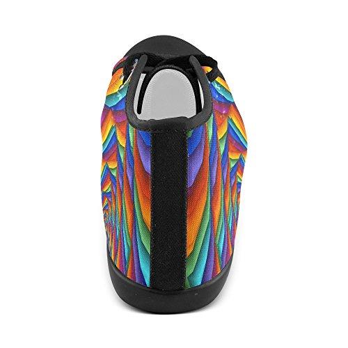 Artsadd Psichedelico Arcobaleno Spirale Alta Scarpe Di Tela Per Le Donne (modello001)