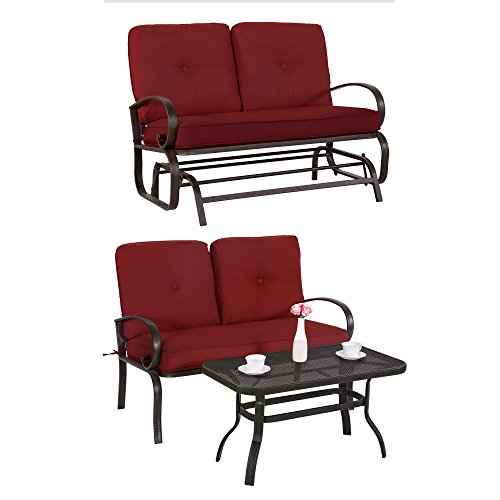Cloud Mountain 3 Piece Metal Conversation Set Cushioned Outdoor Furniture Garden Patio Wrought Iron Conversation Set with Coffee Table Loveseat Sofa, Brick Red