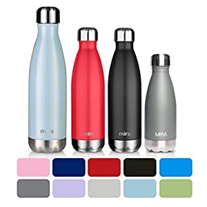 MIRA Stainless Steel Vacuum Insulated Water Bottle | Leak-proof Double Walled Cola Shape Bottle | Keeps Drinks Cold for 24 hours & Hot for 12 hours (Pearl Blue, 25 oz (750 ml, 0.8 qt))