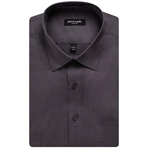 Pierre+Cardin+1019+Men%27s+Slim+Fit+Long+Sleeve+Solid+Dress+Shirt+-+Charcoal+-+15.5+4-5