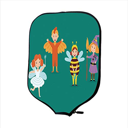 Neoprene Pickleball Paddle Racket Cover Case/Cute kids wearing Christmas costumes vector characters little people isolated cheerful children holidays illustration/Fit For Most Rackets - Protect Your P]()