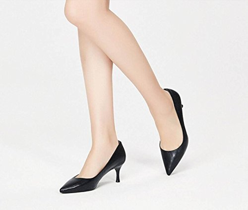 Ximu Black New Boda Spring Corte Femeninos Sandalias Zapatos De La Estrecha Cómodo Bombas De Heels De Zapatos High Punta xpxAwr