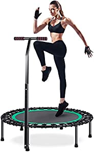 """HOMEOW Mini Fitness Trampoline for Adults 40"""" / 50"""" 440/550lbs Bungee Rebounder with Adjustable Hand"""