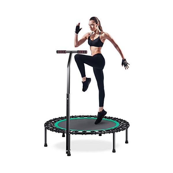 HOMEOW Mini Trampoline Fitness Interieur Adulte 100cm avec Poignée Réglable en Hauteur sur 3 Positions pour Interieur ou Exterieur Exercice Physique Cardio et Jumping Fitness- Charge Maximale 200kg accessoires de fitness [tag]