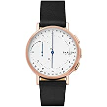 Skagen Hybrid Smartwatch 'Signature' Quartz Stainless Steel and Leather Casual Watch, Color:Black (Model: SKT1112)