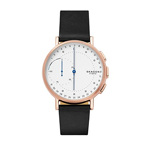 Skagen Hybrid Smartwatch Signature Stainless Steel Quartz Watch with Leather Calfskin Strap, Black, 20 (Model: SKT1112)