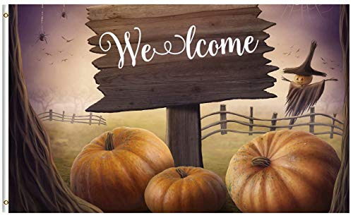 ShineSnow Halloween Seasonal Autumn Pumpkin Misterious Fantasy Fairy Forest 3x5 Feet Flag, Polyester Double Stitched with Brass Grommets 3 X 5 Ft Flag for Outdoor Indoor Decor -