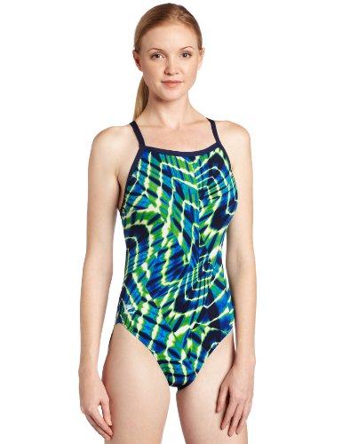 Speedo Women's Aqua Sites Endurance+ Flyback Performance Swimsuit, Blue/Green, 26