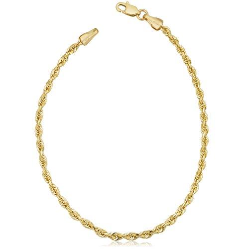Kooljewelry Solid 10k Yellow Gold Rope Chain Bracelet (7.5 inch)