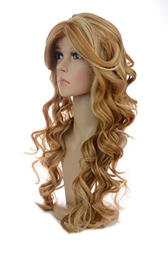 Rani | Long Golden Blonde Voluminous Big Curl Lace Front Wig | Volume Crown | Sweeping Face Framing Fringe | Multi Tonal Highlights