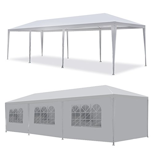 Smartxchoices 10' x 30' Outdoor White Waterproof Gazebo Canopy Tent with Removable Sidewalls and Windows Tent for Party Wedding Events Beach BBQ (10' x 30' with 8 Sidewalls)]()