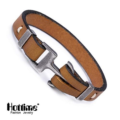 (Men's New Jewelry | Pirate Style Alloy Italian Genuine Leather Anchor Bracelets Cuff | Handmade Wrap Bracelet & Bangles Gifts)
