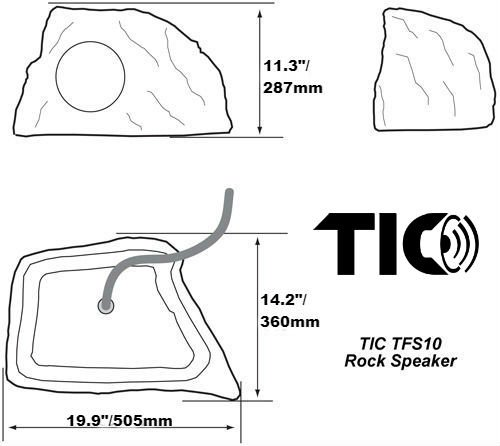 TIC TFS10-WG 8'' Professional Outdoor Weather-Resistant Coaxial Rock Speaker (White Granite) by TIC (Image #4)'