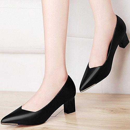 de PU Black alto de zapatos 5CM Los mujer zapatos HUAIHAIZ zapatos work zapatos Tacones tacón noche mujer de negro SfwvW5