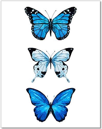 Butterfly Wall Decor- 3 Blue Butterflies Watercolor Art Print - 11x14 - ()