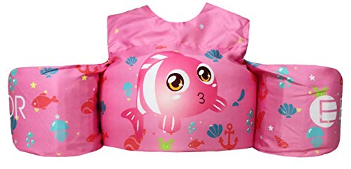 Ehior Toddler Swim Vest Water Aid Floats with Shoulder Harness Kids Pool Swim Life Jacket for 25-55 lbs Boys and Girls (Lovely Clownfish Princess)