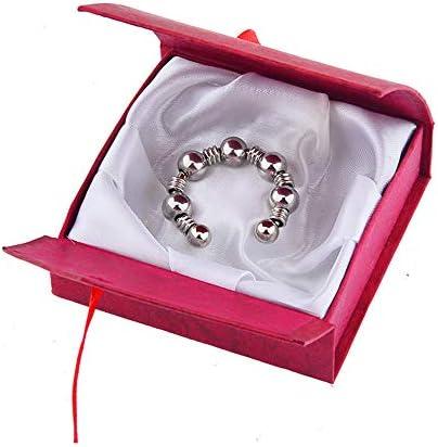 Jinqian CBT 080A Edelstahl Hodenring empfindlichen Metall Penis Ring mit rotem Brokat Box Cockring kann effektiv Ejakulation als Geschenk für ihn verzögern (Ø27mm)