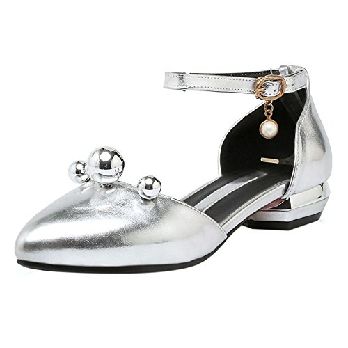 TAOFFEN Women Sweet Block Low Heel Spring Summer Sandals With Ankle Straps 515 Silver OzTit