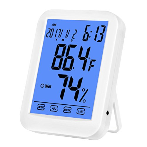 Price comparison product image Dewanxin Hygrometer Thermometer,  Multifunctional Smart Touchscreen Digital Hygrometer Humidity Monitor Indoor humidity gauge with Alarm Clock and Date Hourly Hint with Blue Backlight with Table Sta