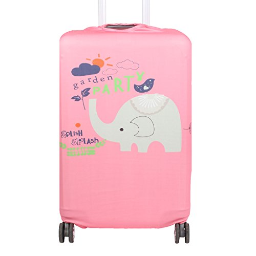 uxcell Polyester Elephant Pattern Travel Luggage Anti-scratch Protector Cover Bag 22-25 Inch Pink by uxcell