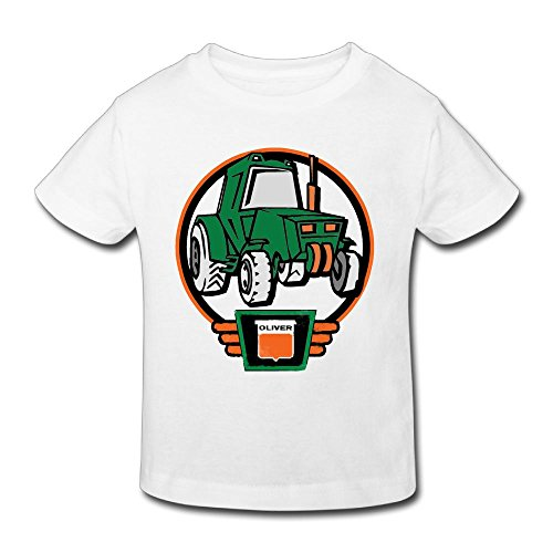 Hanxiaoxiao children Little Oliver Tractor Driver Funny Sports White T-Shirt 4 Toddler Short Sleeve
