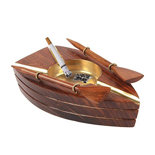 aheli Wooden Handmade Stylish Boat Shaped 3 Cigar Ashtrays Outdoor Home Office (Art Deco Rosewood Table)