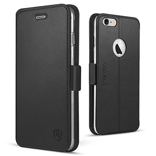 iPhone 6s Case, iphone 6 Wallet Case, SHIELDON Genuine Leather iPhone 6 Flip Magnetic Wallet Case with Credit Card Holder Slots Protective Cover for Apple iphone 6 / 6S (4.7 inch) - Black