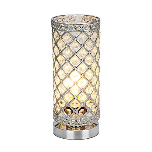 Crystal Table Lamp Touch Control Dimmable Accent Desk Lamp Bedside Modern Table Light with Sliver Lamp Shade Night Light Fixture for Living Room Bedroom Kitchen, by Seaside Village ()