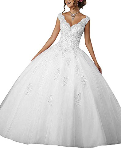 Gemila Women's Lace Applique Beaded Sweet 16 Tulle Floor Length Prom Party Ball Gown Quinceanera Dress White US6