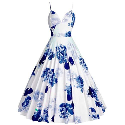 (SMALLE_Clothing Vintage Dress for Women,SMALLE Women Plus Size Audrey Hepburn Rockabilly Dress 1950s Retro Swing Dress Blue)