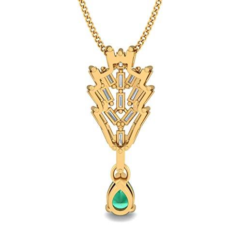 Or jaune 18K 1.11carat au total Baguette-cut-diamond (IJ | SI) et pendentif Émeraude