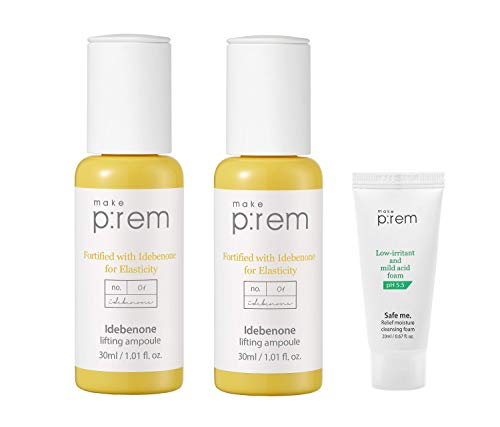 MAKEP:REM Idebenone Lifting Ampoule Serum 30ml + 30ml with MAKEP:REM moisture cleansing foam mini | Anti-wrinkle, Anti-Aging, Improves Skin Elasticity, Skin Brightening, Hydrating by Makeprem
