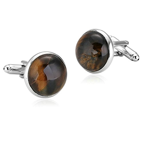 Epinki Mens Stainless Steel Brown Simple Style Round Amber Shirt Cufflinks for Wedding Business ()