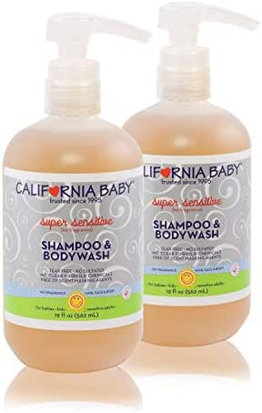 California Baby Super Sensitive Shampoo and Body Wash - Hair, Face, and Body   Gentle, Fragrance Free, Allergy Tested   Dry, Sensitive Skin, 19 oz   2 Pack