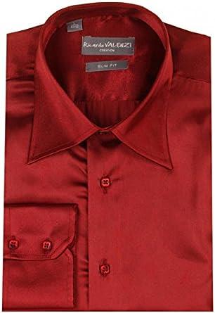 Dymastyle Camisa de ceremonia para hombre muñecas biselado Coloris Burdeos Naranja naranja: Amazon.es: Ropa y accesorios
