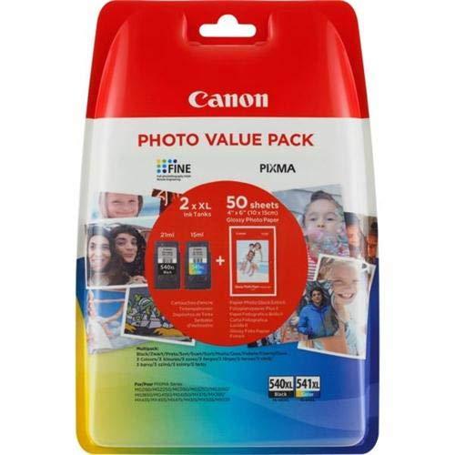 Canon – Juego de 2 cartuchos de tinta negra Canon PG-540XL y de color CL-541XL, para impresora Canon Pixma MG4250
