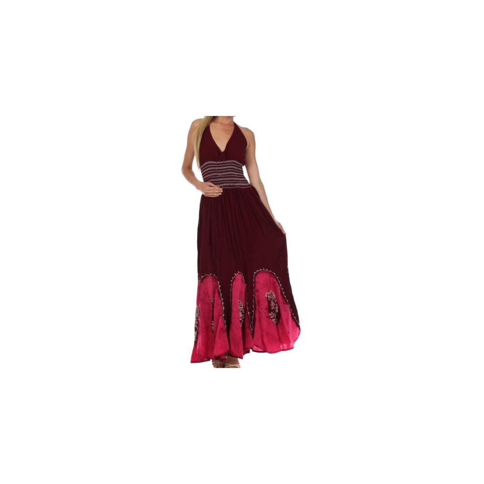 Sakkas 793ANP Batik Adjustable Halter Long Maxi Dress   Chocolate / Pink   One Size