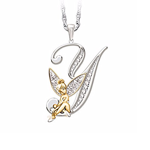 White Gold Round Angel Pendant - Silverraj Jewels 26 Alphabet Pendant Collection : 14K White Gold Plated Simulated Excellent Round CZ Diamond Initial Y Letter Pendant Angel Wing With 18
