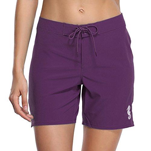 (BeautyIn Women's Stretch Board Shorts Sport Swimwears Bottom Solid Beach Shorts,Purple,10/Tag L)
