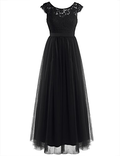 iEFiEL Women Floral Lace Open Back Tulle Bridesmaid Long Dresses Elegant Event Wear Black (Lace Tulle)