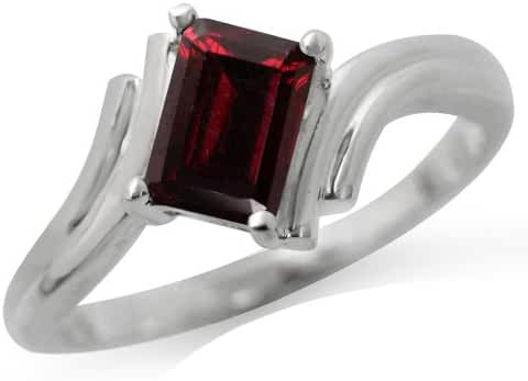 1.28ct. Natural Garnet 925 Sterling Silver Bypass Solitaire Ring