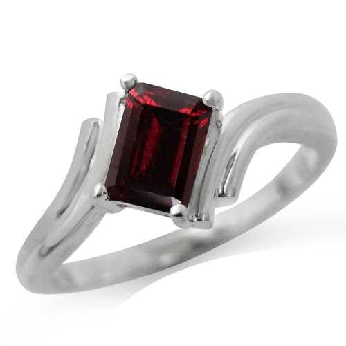 1.28ct. Natural Garnet 925 Sterling Silver Bypass Solitaire Ring Size 8