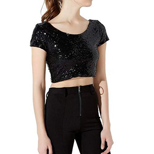 O Camicette Donna Collo T Nero Short Solido e camicie Navel Frauit Top corta Per Donna Camicia Camicetta Con Estate Shirt Manica Top paillettes Sexy xWnwfqAXT
