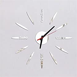 Peize HOT!!! Removable Diy Acrylic 3D Mirror Wall Sticker Decorative Clock (Silver)