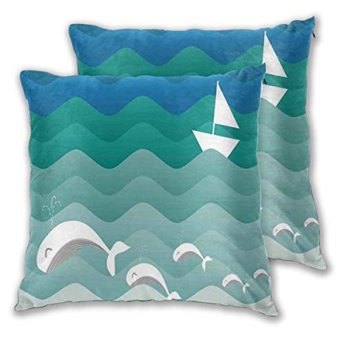 lsrIYzy Decorations Throw Pillow Cushion Cover Set of 2,Nautical Theme with Paper Boat Sea Happy Dolphins Underwater Sea Animals,Square Accent Pillow Case 16x16 inches