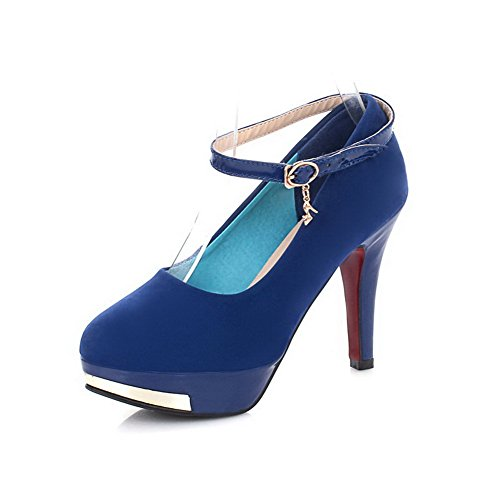 Maymeenth Girls Closed Toe Pointed Toe High Heel PU Frosted Solid Pumps with Metalornament, Blue, 7.5 B(M) US